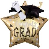 Folienballon Congrats Grad Star Jumbo mit 3D-Effekt, Inklusive Helium