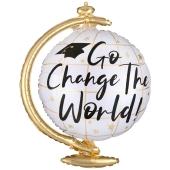 Change the World Globus, Luftballon aus Folie mit Helium Ballongas