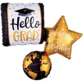 Hello Grad, Luftballon aus Folie mit Helium Ballongas