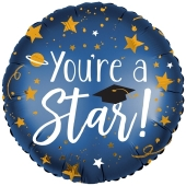 You're a Star, Satin Infused, runder Luftballon aus Folie mit Helium Ballongas
