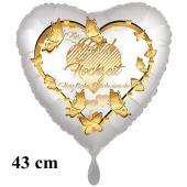 Folienballon Zur Gold Hochzeit - Herzliche Glückwünsche, inklusive Helium