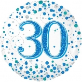 Luftballon zum 30. Geburtstag, Sparkling Fizz Blue 30, ohne Helium-Ballongas