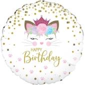 Happy Birthday Einhorn Katze, Caticorn Luftballon aus Folie mit Helium
