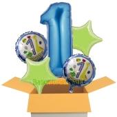 5 Luftballons zum 1. Geburtsatg, blau, I am 1 todayday, inklusive Helium zum Kindergeburtstag