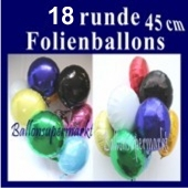 Folienballons-Rundform, 18 Stück inklusive Helium