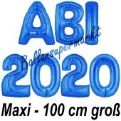 Abi 2020, große Buchstaben-Luftballons, 100 cm, Blau, inklusive Helium, zur Abiturfeier
