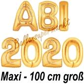Abi 2020, große Buchstaben-Luftballons, 100 cm, Gold, inklusive Helium, zur Abiturfeier