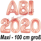 Abi 2020, große Buchstaben-Luftballons, 100 cm, Rose Gold, inklusive Helium, zur Abiturfeier