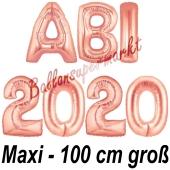 Abi 2020, große Buchstaben-Luftballons, 100 cm, Rose Gold zur Abiturfeier