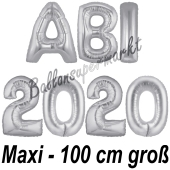 Abi 2020, große Buchstaben-Luftballons, 100 cm, Silber, inklusive Helium, zur Abiturfeier