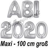 Abi 2020, große Buchstaben-Luftballons, 100 cm, Silber, zur Abiturfeier