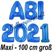 Abi 2021, große Buchstaben-Luftballons, 100 cm, Blau, inklusive Helium, zur Abiturfeier