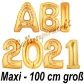 Abi 2021, große Buchstaben-Luftballons, 100 cm, Gold zur Abiturfeier