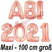 Abi 2021, große Buchstaben-Luftballons, 100 cm, Rose Gold, inklusive Helium, zur Abiturfeier