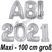 Abi 2021, große Buchstaben-Luftballons, 100 cm, Silber, inklusive Helium, zur Abiturfeier