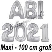 Abi 2021, große Buchstaben-Luftballons, 100 cm, Silber, zur Abiturfeier