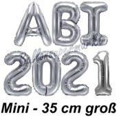 Abi 2021, Luftballons, 35 cm, Silber zur Abiturfeier