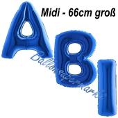 Abi, Buchstaben-Luftballons Midi, 66 cm, Blau, inklusive Helium, zur Abiturfeier