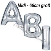 Abi, Buchstaben-Luftballons Midi, 66 cm, Silber, inklusive Helium, zur Abiturfeier