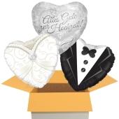 3 Hochzeitsballons, Brautpaar, Alles Gute zur Hochzeit, inklusive Ballongas Helium
