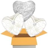 3 Luftballons zur Hochzeit, Alles Gute zur Hochzeit, Gleichgeschlechtliches Brautpaar mit Nachfüllbehälter, inklusive Helium