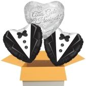3 Hochzeitsballons, Schwules Hochzeitspaar, Alles Gute zur Hochzeit, inklusive Ballongas Helium