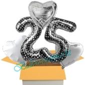 5 Luftballons zur Silberhochzeit, 25, Alles Gute zur Silbernen Hochzeit, inklusive Ballongas Helium