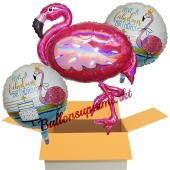 3 Stück Luftballons zum Geburtstag, Fabulous Birthday Pink Flamingo