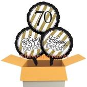 3 Luftballons aus Folie zum 70. Geburtstag, Black & Gold