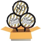 3 Luftballons aus Folie zum 80. Geburtstag, Black & Gold