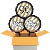 3 Luftballons aus Folie zum 90. Geburtstag, Black & Gold