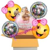 5 Stück Luftballons zum Geburtstag, Happy Birthday Streifenhörnchen
