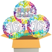 3 Luftballons aus Folie zum 16. Geburtstag, Colorful Confetti