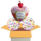 3 Geburtstags-Luftballons, Cupcake Party, Ballons mit Helium