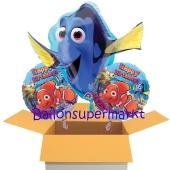 3 Geburtstags-Luftballons, Happy Birthday Findet Dorie, Ballons mit Helium