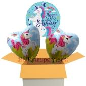 Happy Birthday Einhorn, 3 Stück Luftballons aus Folie zum Geburtstag, inklusive Helium