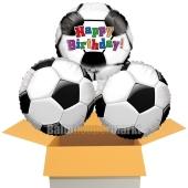 Happy Birthday Fußball, 3 Stück Luftballons aus Folie zum Geburtstag, inklusive Helium