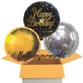 Happy Birthday Sparkling Fizz Gold, 3 Stück Luftballons aus Folie zum Geburtstag, inklusive Helium