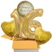 5 holografische Luftballons zum 16. Geburtstag, Gold Sparkle Birthday 16