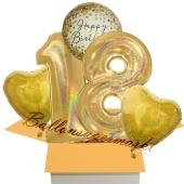 5 holografische Luftballons zum 18. Geburtstag, Gold Sparkle Birthday 18
