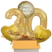5 holografische Luftballons zum 30. Geburtstag, Gold Sparkle Birthday 30
