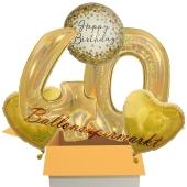 5 holografische Luftballons zum 40. Geburtstag, Gold Sparkle Birthday 40