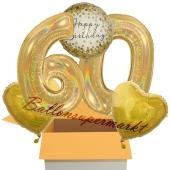 5 holografische Luftballons zum 60. Geburtstag, Gold Sparkle Birthday 60