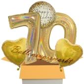 5 holografische Luftballons zum 70. Geburtstag, Gold Sparkle Birthday 70