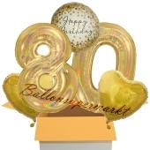 5 holografische Luftballons zum 80. Geburtstag, Gold Sparkle Birthday 80