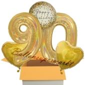 5 holografische Luftballons zum 90. Geburtstag, Gold Sparkle Birthday 90