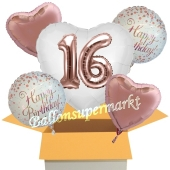5 Luftballons zum 16. Geburtstag, Herz Jumbo 3D Sparkling Fizz Birthday Roségold 16