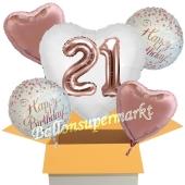 5 Luftballons zum 21. Geburtstag, Herz Jumbo 3D Sparkling Fizz  Birthday Roségold 21