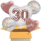5 Luftballons zum 30. Geburtstag, Herz Jumbo 3D Sparkling Fizz  Birthday Roségold 30
