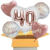5 Luftballons zum 40. Geburtstag, Herz Jumbo 3D Sparkling Fizz  Birthday Roségold 40